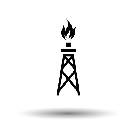 oil and gas, tower icon. Shadow reflection design. Vector illustration. White background with shadow design. Vector illustration.