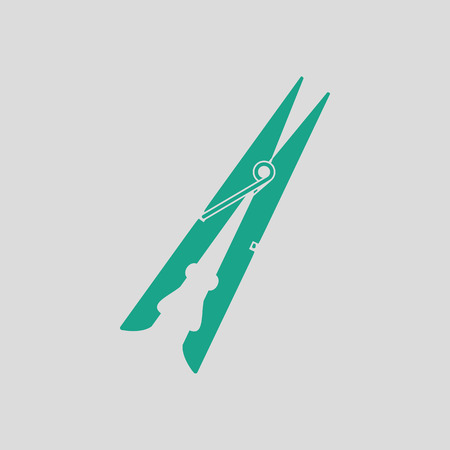 clothespeg: Cloth peg icon. Gray background with green. Vector illustration.