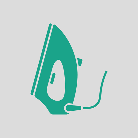 steam iron: Steam iron icon. Gray background with green. Vector illustration. Illustration