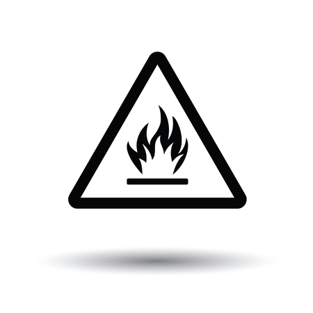 Flammable icon. White background with shadow design. Vector illustration.
