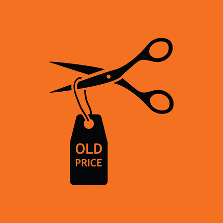 thrift: Scissors cut old price tag icon. Orange background with black. Vector illustration.
