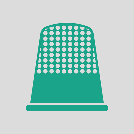 hem: Tailor thimble icon. Gray background with green. Vector illustration.