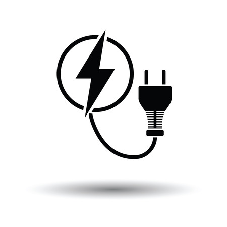 Electric plug icon. White background with shadow design. Vector illustration. Illustration
