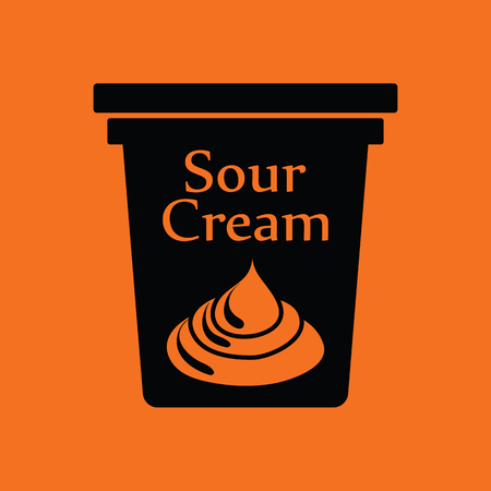 sour: Sour cream icon. Orange background with black. Vector illustration.