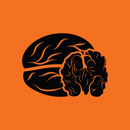 walnut: Walnut icon. Orange background with black. Vector illustration. Illustration