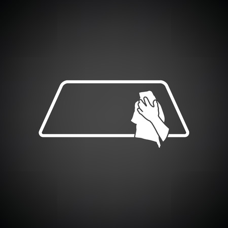 wipe: Wipe car window icon. Black background with white. Vector illustration.