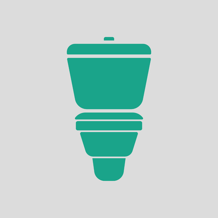 domestic room: Toilet bowl icon. Gray background with green. Vector illustration. Illustration