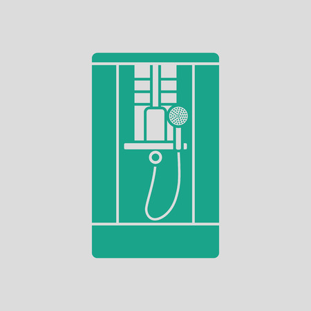 hotel rooms: Shower icon. Gray background with green. Vector illustration.