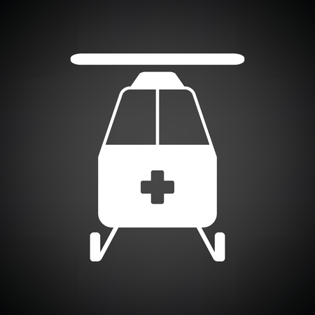 emergency helicopter icon. Black background with white. Vector illustration.
