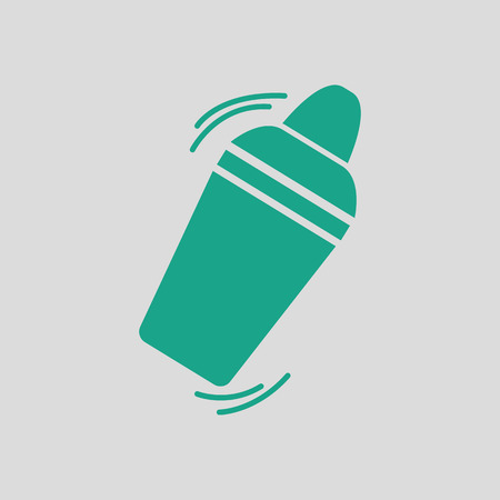 SHAKER: Bar shaker icon. Gray background with green. Vector illustration. Illustration