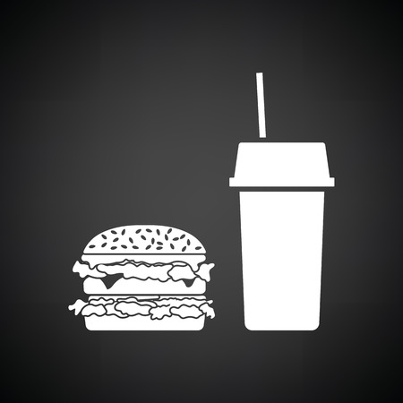 unhealth: Fast food icon. Black background with white. Vector illustration.