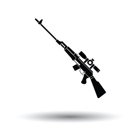 carbine: Sniper rifle icon. White background with shadow design. Vector illustration.