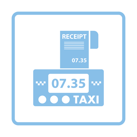 fare: Taxi meter with receipt icon. Blue frame design. Vector illustration.