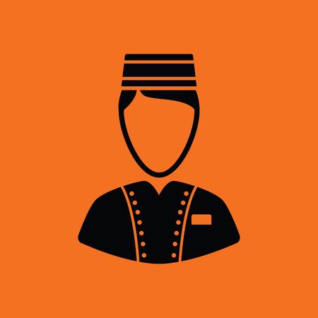 doorkeeper: Hotel boy icon. Orange background with black. Vector illustration.