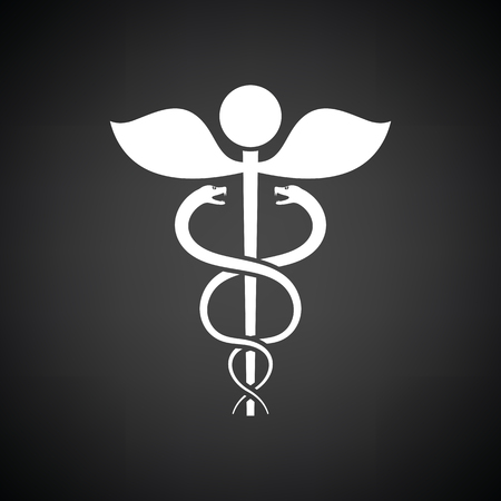 esculapio: Medicine sign icon. Black background with white. Vector illustration.