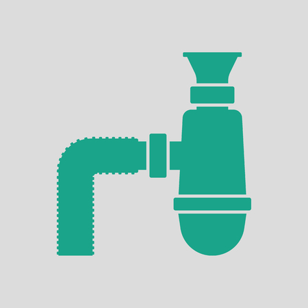 sewer: Bathroom siphon icon. Gray background with green. Vector illustration. Illustration