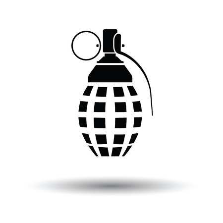 ammo: Defensive grenade icon. White background with shadow design. Vector illustration.