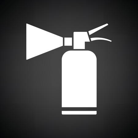 suppression: Extinguisher icon. Black background with white. Vector illustration.
