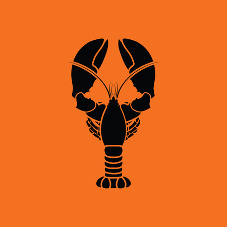 Lobster icon. Orange background with black. Vector illustration.