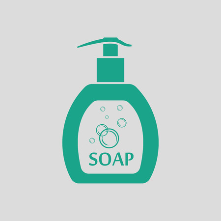 grey hair: Liquid soap icon. Gray background with green. Vector illustration.