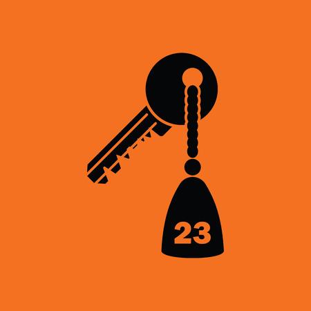 Hotel room key icon. Orange background with black. Vector illustration. Illustration