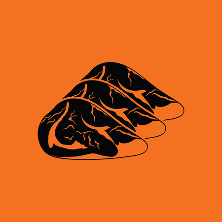 raw meat: Raw meat steak icon. Orange background with black. Vector illustration.