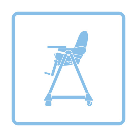 high chair: Baby high chair icon. Blue frame design. Vector illustration. Illustration