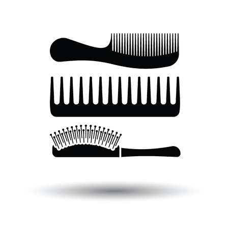 Hairbrush icon. White background with shadow design. Vector illustration.