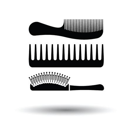 icona di spazzola per capelli. Sfondo bianco con disegno ombra. Illustrazione vettoriale.