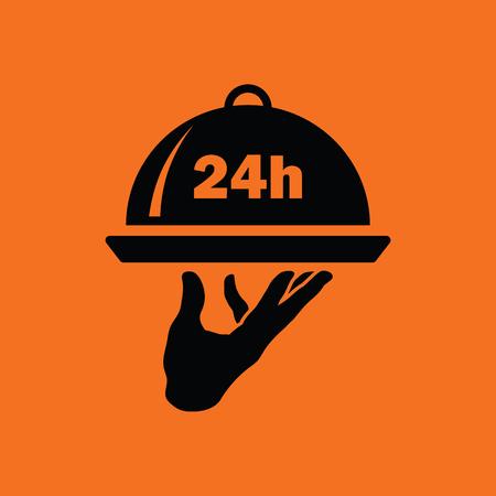 room service: 24 hour room service icon. Orange background with black. Vector illustration.