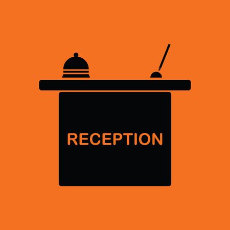 hotel reception: Hotel reception desk icon. Orange background with black. Vector illustration.