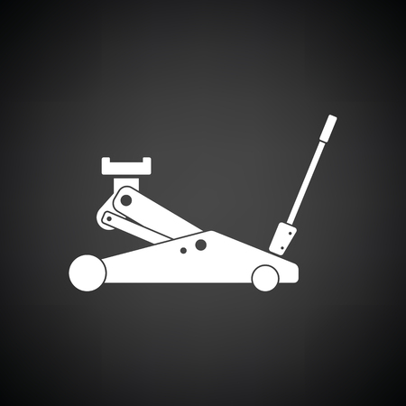 lifting jack: Hydraulic jack icon. Black background with white. Vector illustration.