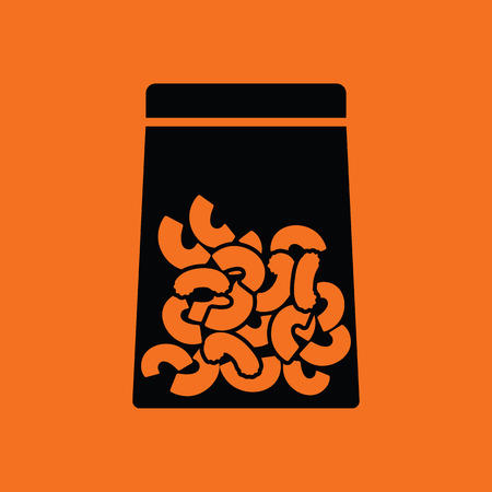 package icon: Macaroni package icon. Orange background with black. Vector illustration.