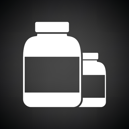 white pills: Pills container icon. Black background with white. Vector illustration.