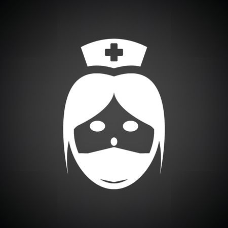 orderly: Nurse head icon. Black background with white. Vector illustration.