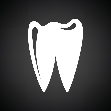 mouth screen: Tooth icon. Black background with white. Vector illustration. Illustration