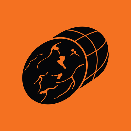 Ham icon. Orange background with black. Vector illustration.