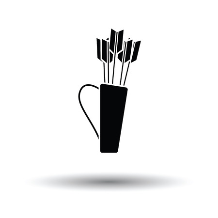 Quiver with arrows icon. White background with shadow design. Vector illustration. Illustration