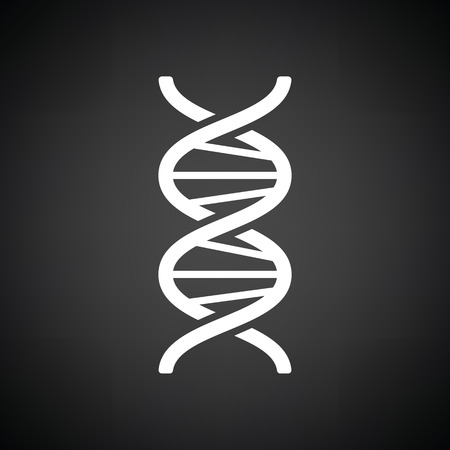 DNA icon. Black background with white. Vector illustration.