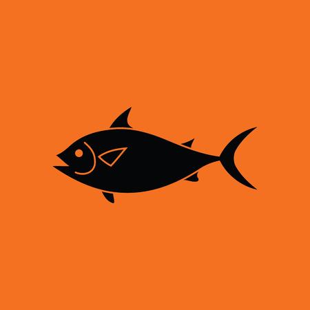 gill: Fish icon. Orange background with black. Vector illustration.