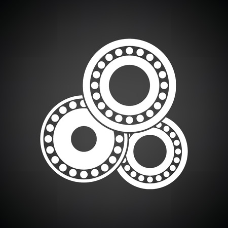 bearing: Bearing icon. Black background with white. Vector illustration.