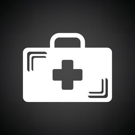 medical case: Medical case icon. Black background with white. Vector illustration.