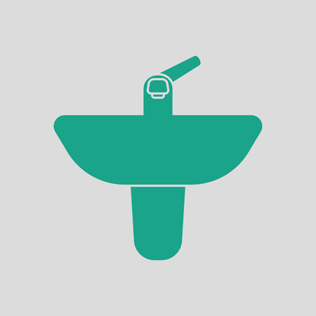 domestic room: Wash basin icon. Gray background with green. Vector illustration.