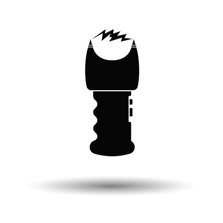 Stun gun icon. White background with shadow design. Vector illustration.