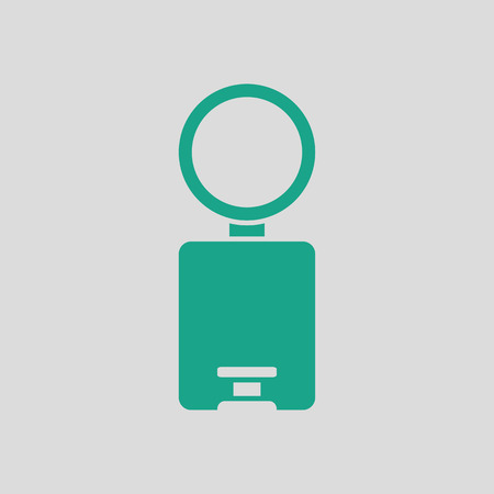 wastebasket: Trash can icon. Gray background with green. Vector illustration. Illustration
