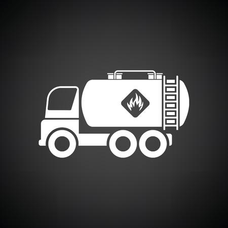Oil truck icon. Black background with white. Vector illustration. Illustration