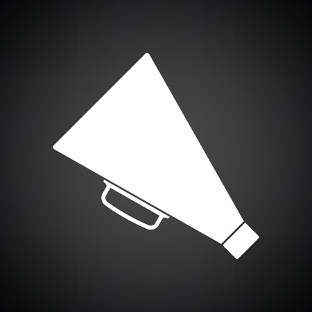 amplify: Director megaphone icon. Black background with white. Vector illustration.