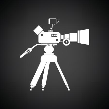 Movie camera icon. Black background with white. Vector illustration. Ilustração Vetorial