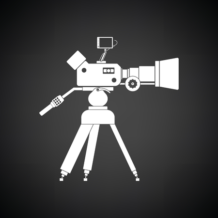 video: Movie camera icon. Black background with white. Vector illustration. Illustration