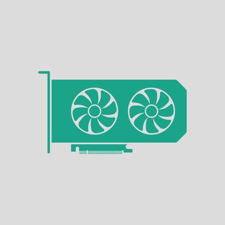 dvi: GPU icon. Gray background with green. Vector illustration. Illustration